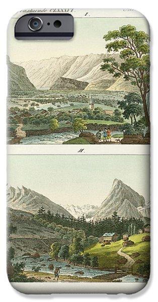 Switzerland Drawings iPhone Cases - Views of Switzerland iPhone Case by Splendid Art Prints