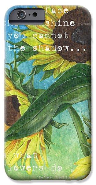 Texture iPhone Cases - Vinces Sunflowers 1 iPhone Case by Debbie DeWitt