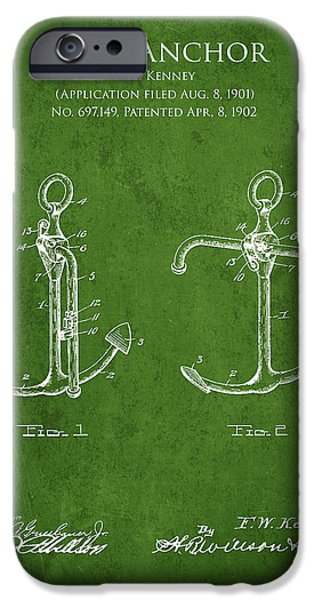 Vintage Anchor Patent Drawing from 1902 iPhone Case by Aged Pixel