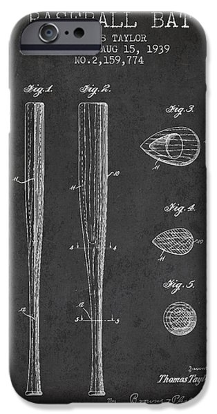 Softball iPhone Cases - Vintage Baseball Bat Patent from 1939 iPhone Case by Aged Pixel