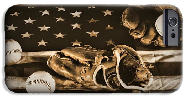 Baseball Glove iPhone Cases - Vintage Baseball iPhone Case by Dan Sproul