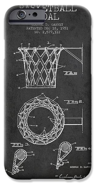 Vintage Basketball Goal patent from 1951 iPhone Case by Aged Pixel