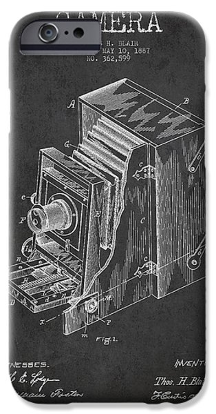Technical iPhone Cases - Vintage Camera Patent Drawing from 1887 iPhone Case by Aged Pixel