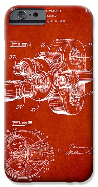 Camera iPhone Cases - Vintage Camera Patent Drawing from 1938 iPhone Case by Aged Pixel