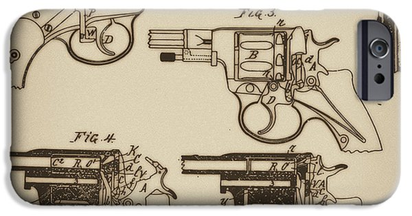 Mechanism Mixed Media iPhone Cases - Vintage Colt Revolver Drawing  iPhone Case by Nenad  Cerovic