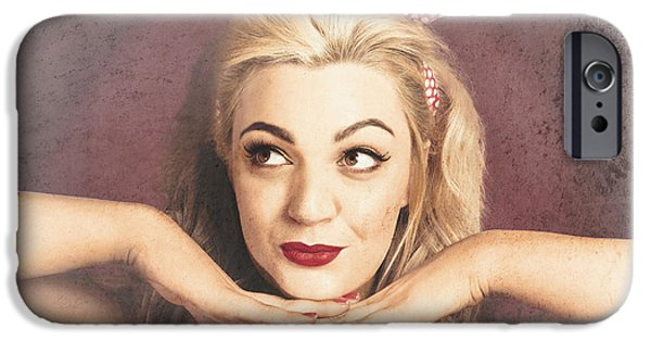 Chin Up Photographs iPhone Cases - Vintage face of nostalgia. Retro blond 1940s girl  iPhone Case by Ryan Jorgensen