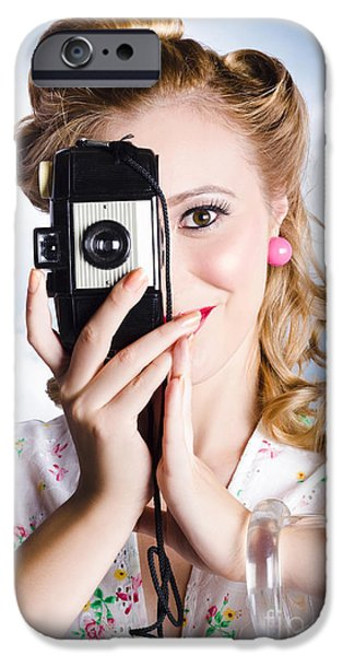 1950s Portraits iPhone Cases - Vintage film photographer taking outdoor portrait iPhone Case by Ryan Jorgensen