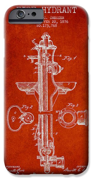 Fire iPhone Cases - Vintage Fire Hydrant Patent from 1876 iPhone Case by Aged Pixel
