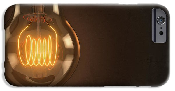 Business Digital Art iPhone Cases - Close Up Vintage Hanging Light Bulb iPhone Case by Scott Norris