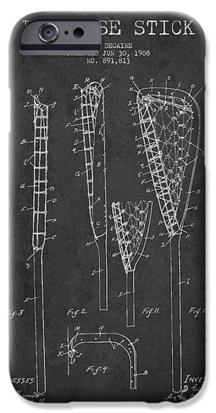 Technical iPhone Cases - Vintage Lacrosse Stick Patent from 1908 iPhone Case by Aged Pixel