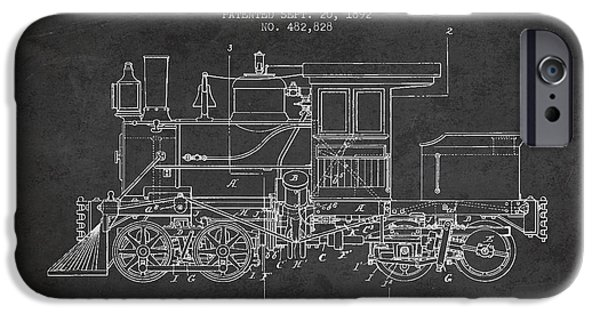 Train iPhone Cases - Vintage Locomotive patent from 1892 iPhone Case by Aged Pixel