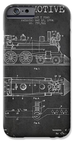 Train iPhone Cases - Vintage Locomotive patent from 1904 iPhone Case by Aged Pixel