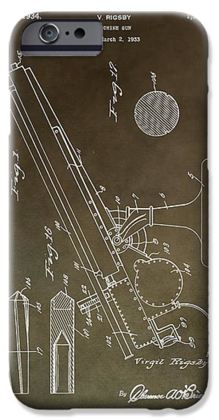 Weapon Mixed Media iPhone Cases - Vintage Machine Gun Patent iPhone Case by Dan Sproul