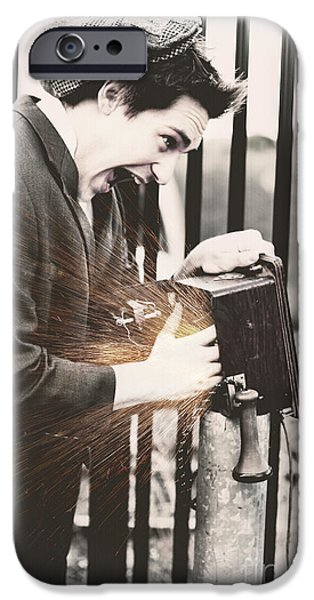Electrical Equipment iPhone Cases - Vintage Man Getting An Electric Shock iPhone Case by Ryan Jorgensen