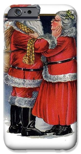 Women Together Mixed Media iPhone Cases - Vintage Mr and Mrs Claus iPhone Case by Tracey Harrington-Simpson