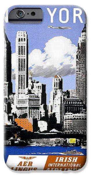 Fashion Design Art iPhone Cases - Vintage New York Travel Poster iPhone Case by Jon Neidert