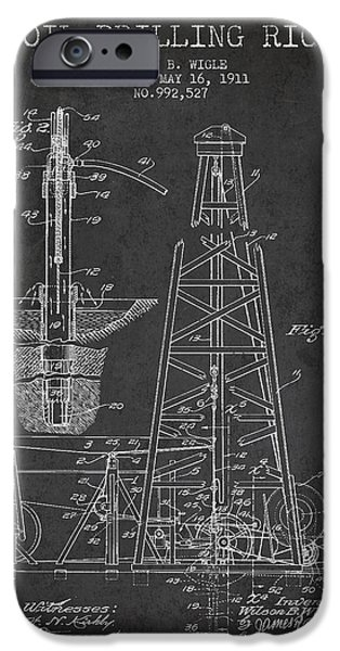 Industry iPhone Cases - Vintage Oil drilling rig Patent from 1911 iPhone Case by Aged Pixel