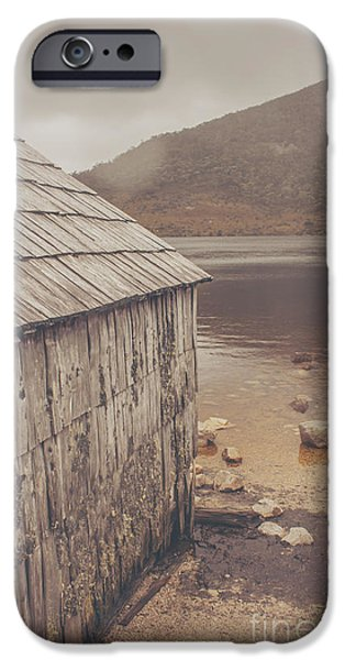 Shed iPhone Cases - Vintage photo of an Australian boat shed iPhone Case by Ryan Jorgensen