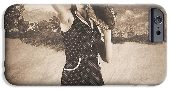 Baseball Glove iPhone Cases - Vintage pin up girl pitching baseball iPhone Case by Ryan Jorgensen