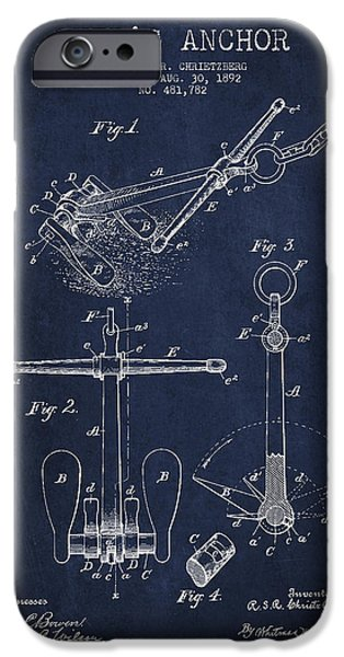 Vessel iPhone Cases - Vintage ship Anchor patent from 1892 iPhone Case by Aged Pixel