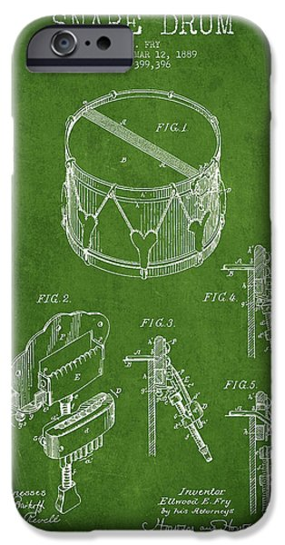 Vintage Snare Drum Patent Drawing from 1889 - Green iPhone Case by Aged Pixel