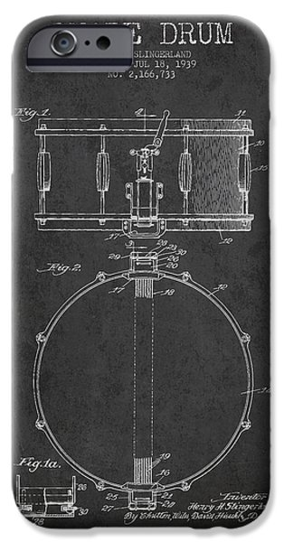 Drummer iPhone Cases - Snare Drum Patent Drawing from 1939 - Dark iPhone Case by Aged Pixel