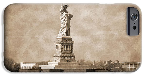 Hudson River iPhone Cases - Vintage statue of Liberty iPhone Case by RicardMN Photography