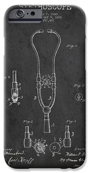 Device iPhone Cases - Vintage Stethoscope Patent Drawing From 1882 - Dark iPhone Case by Aged Pixel