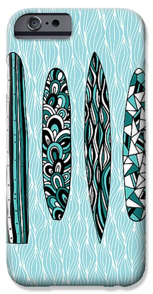 Board iPhone Cases - Vintage Surfboards Part1 iPhone Case by Susan Claire
