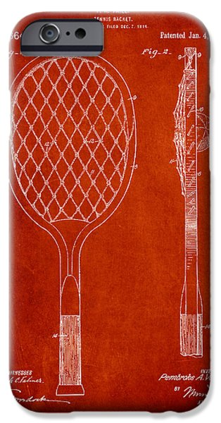 Tennis Ball iPhone Cases - Vintage Tennnis Racketl Patent Drawing from 1921 iPhone Case by Aged Pixel