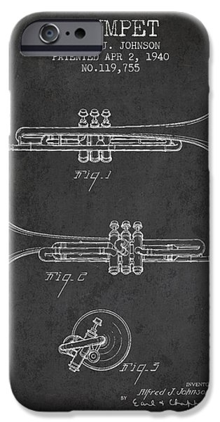 Trumpet iPhone Cases - Vintage Trumpet Patent from 1940 - Dark iPhone Case by Aged Pixel