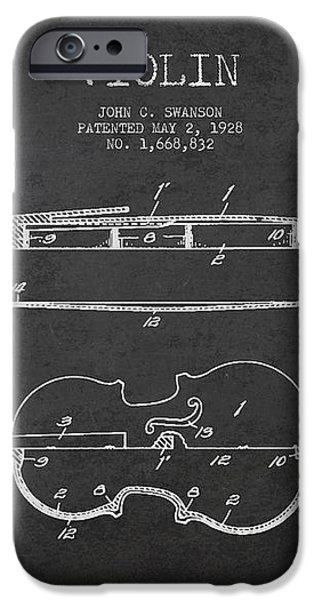Vintage Violin Patent Drawing From 1928 iPhone Case by Aged Pixel