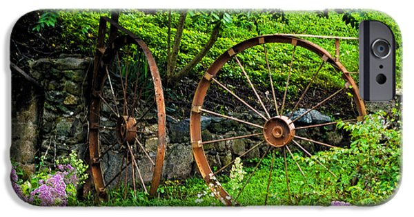 Grist Mill iPhone Cases - Vintage Wagon Wheel Gate iPhone Case by Sandi OReilly