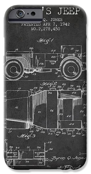 Jeep iPhone Cases - Vintage Willys Jeep Patent from 1942 iPhone Case by Aged Pixel