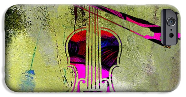 Instrument iPhone Cases - Violin and Bow iPhone Case by Marvin Blaine