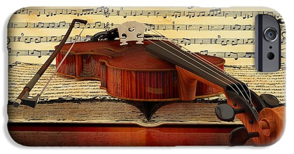 Old Sheet Music iPhone Cases - Violin  iPhone Case by Louis Ferreira