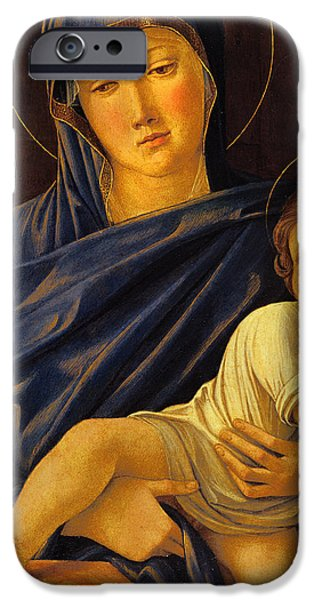 Virgin Mary iPhone Cases - Virgin and Child iPhone Case by Giovanni Bellini