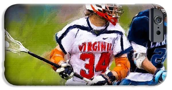 Scott Melby iPhone Cases - College Lacrosse 6 iPhone Case by Scott Melby