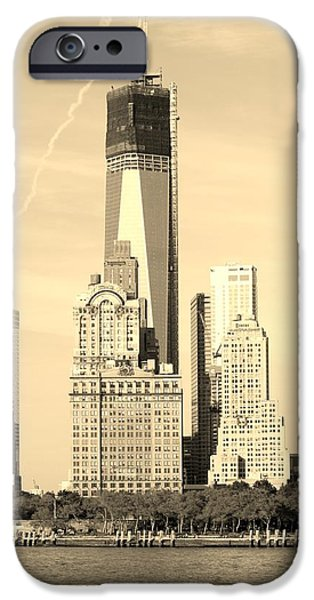 Hudson River iPhone Cases - 1 W T C from the WATER in SEPIA iPhone Case by Rob Hans
