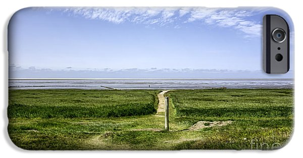 Wadden Sea iPhone Cases - Wadden sea from the island Mando Denmark iPhone Case by Frank Bach