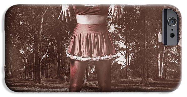 Character Portraits Photographs iPhone Cases - Walking dead schoolgirl stumbling back to school iPhone Case by Ryan Jorgensen