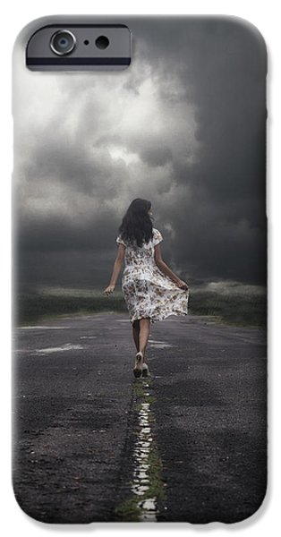 Eerie iPhone Cases - Walking On The Street iPhone Case by Joana Kruse