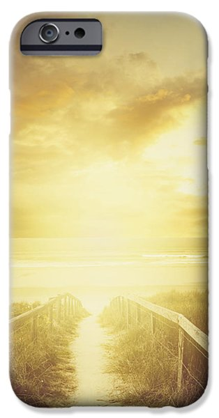 Moody Beach iPhone Cases - Walkway to beach iPhone Case by Les Cunliffe
