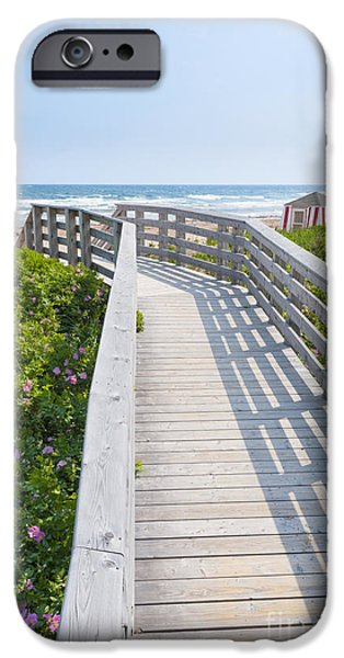 Beach Landscape iPhone Cases - Walkway to ocean beach iPhone Case by Elena Elisseeva
