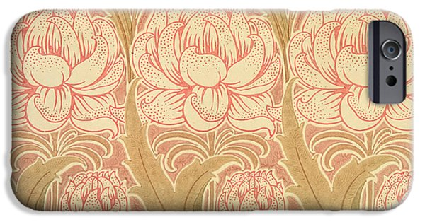Wallpaper Tapestries - Textiles iPhone Cases - Wallpaper design iPhone Case by Victorian Voysey