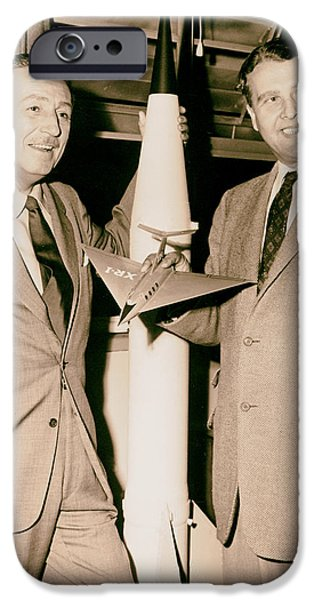 1950s Portraits iPhone Cases - Walt Disney and Dr Werner von Braun 1954 iPhone Case by Mountain Dreams