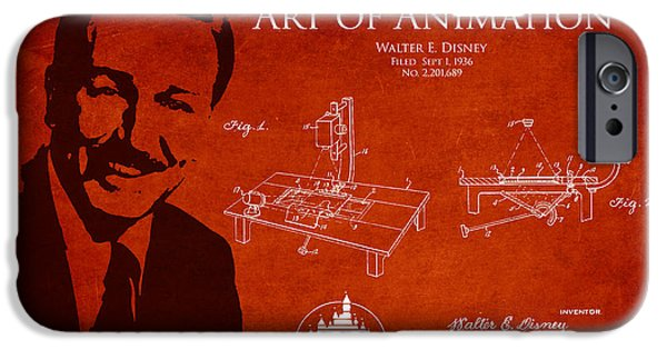 Animation iPhone Cases - Walt Disney Patent from 1936 iPhone Case by Aged Pixel