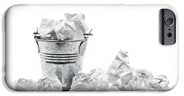 Business Sculptures iPhone Cases - Waste basket with crumpled papers iPhone Case by Shawn Hempel