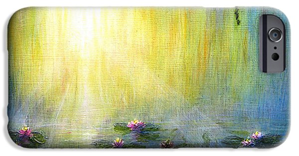 Willow Lake Paintings iPhone Cases - Water Lilies at Sunrise iPhone Case by Jerome Stumphauzer