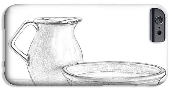 """indoor"" Still Life Mixed Media iPhone Cases - Water Pitcher and Basin iPhone Case by Linda Muir"
